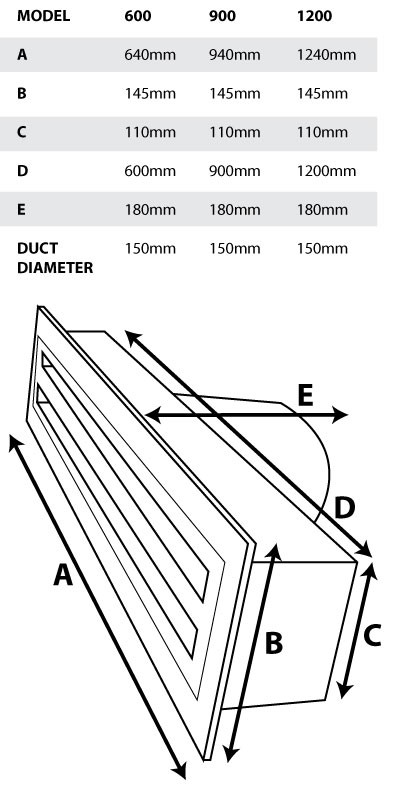 Metal Linear Slot Vent 150mm Length Options