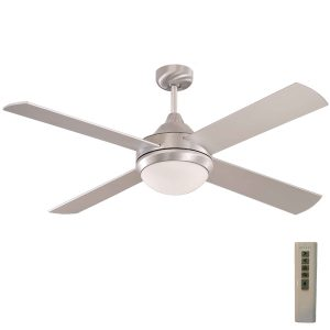 Brushed Aluminium milano ceiling fan with light