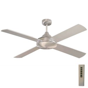 Brushed aluminum milano ceiling fan with light