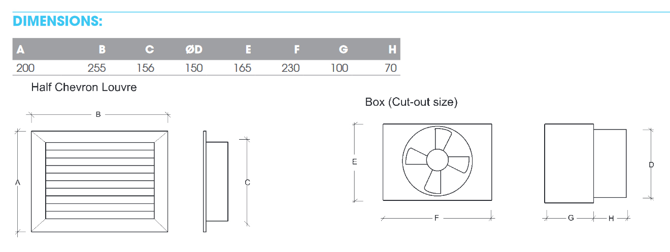 12v sub floor fan dimensions
