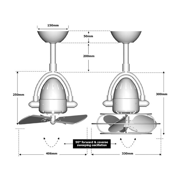 diane ceiling fan dimensions