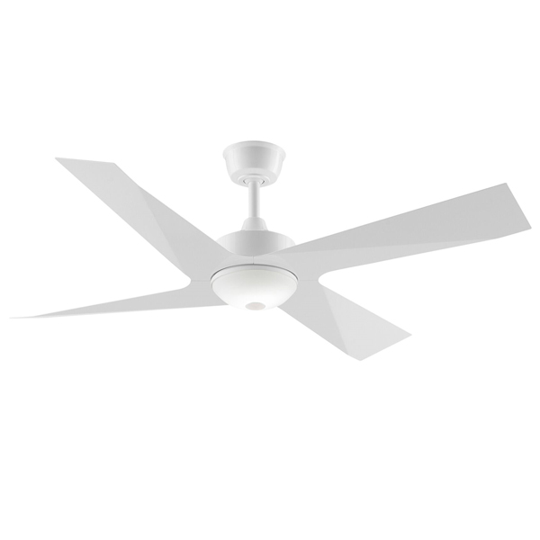 White modn 4 ceiling fan with light