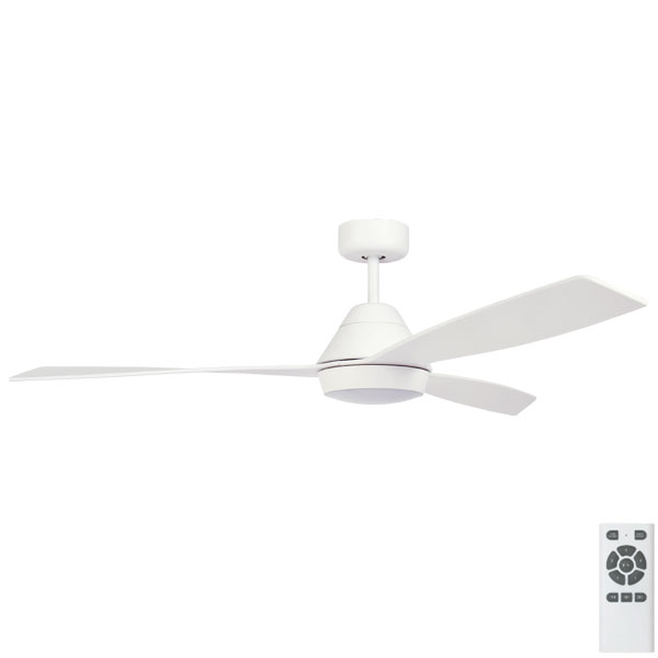 white eco breeze ceiling fan with light
