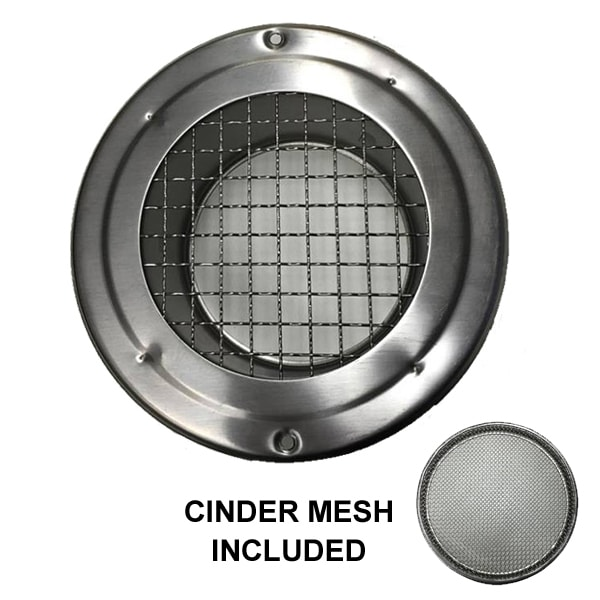 Metal Stainless Steel Vent With Cinder Mesh 200mm Universal Fans