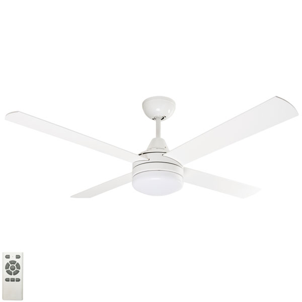 White cardiff ceiling fan with light 52 inch
