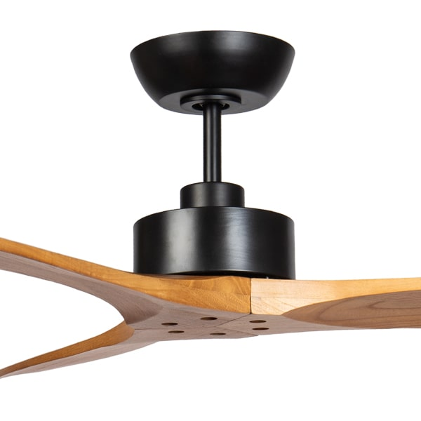 wynd ceiling fan matt black with teak blades