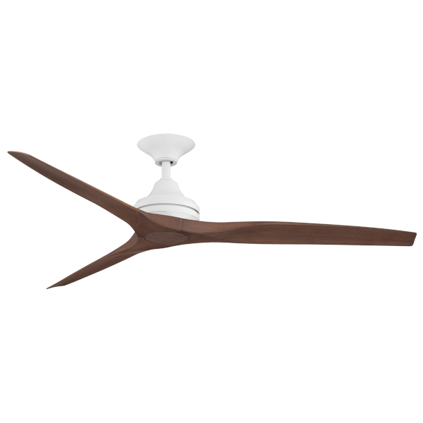spitfire ceiling fan with white motor and plastic walnut blades
