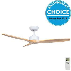Wynd DC Ceiling fan with white motor and timber blades